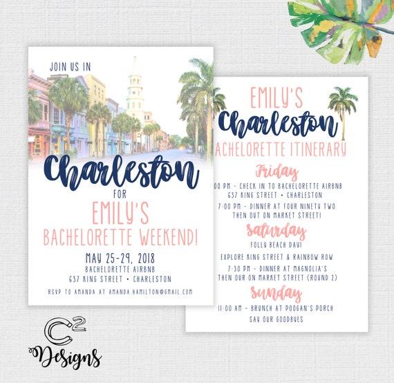 Charleston Bachelorette Party Invitation And Itinerary Custom Digital File