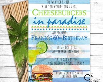 Jimmy Buffett Margaritaville Party Invitation