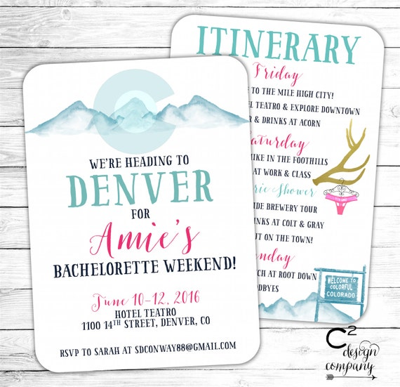 denver bachelorette party invitation with itinerary etsy