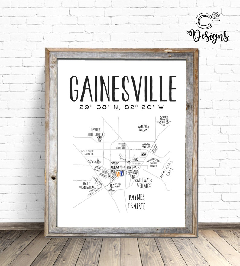 Map University Of Florida.Gainesville Map University Of Florida Instant Download