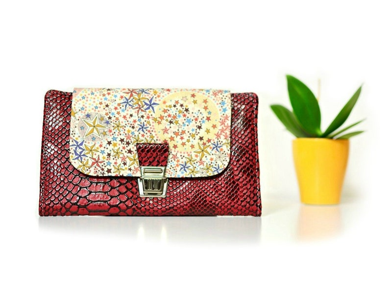 96c1b87234 Red wallet Bordeaux in Liberty Adelajda autumn and imitation