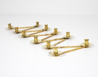Vintage Margareta Staken Articulated Brass Candle Holder by Lars Holmström Arvika Konsthantverk Sweden 11 Lights Candelabra Scandinavian