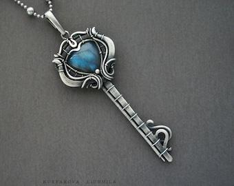 Pendant Key, silver key, pendant with labrador, blue labrador, key with stone
