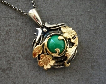 Sterling silver pendant with brass and natural malahite in art nouveau style