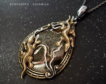 Oxidized silver and brass necklace with geode calcite and brass lizards