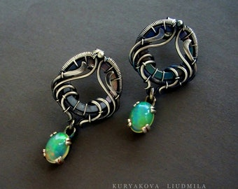 Sterling silver earrings with Ethiopian opals in vintage style