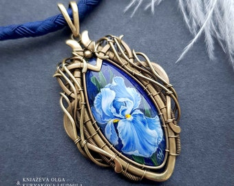 Victorian brass necklace with lapis lazuli and stone painted iris flower