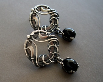 Sterling silver earrings with black onyx in vintage style