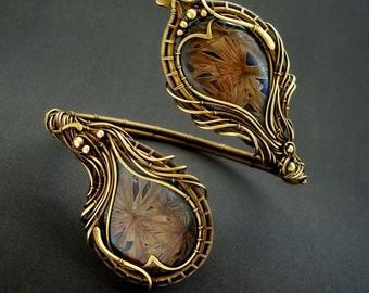 Oxidized brass flower braided bracelet with porcelain inlays with crystal glaze handmade