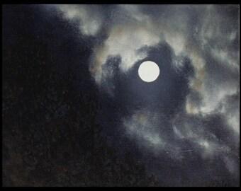 """14x11"""" 'September Full Moon' oil painting"""