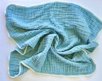 baby swaddle, baby blanket, double gauze blanket, muslin blanket, baby gift, baby shower gift, newborn gift, new mom gift, stroller blanket