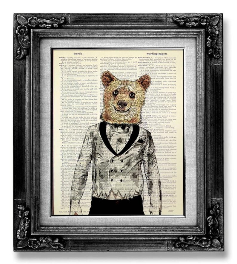 Bear Art Dark Decor Gothic Print Zombie Art Bear Decor Etsy