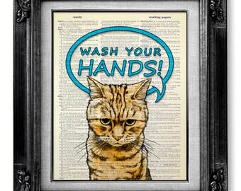 Kids Wall Art Print, BATHROOM Art Kid Gift Idea, Cool Funny Cat Poster Artwork, Cute OFFICE Decor, Wash Your HANDS Art, Bathroom Sign Art
