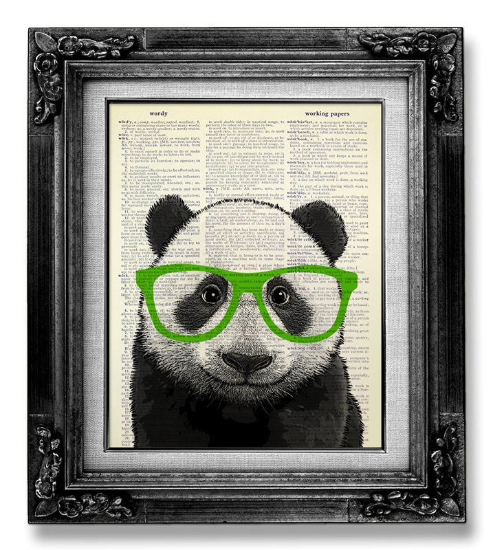 PANDA Art Green Glasses Cute Home Office Decor GEEKERY Art