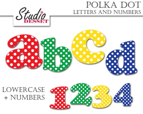 Uppercase Digital Clip art Graphics L005 Alphabet and Numbers Cliparts ABC Clipart Polka Dot Letters