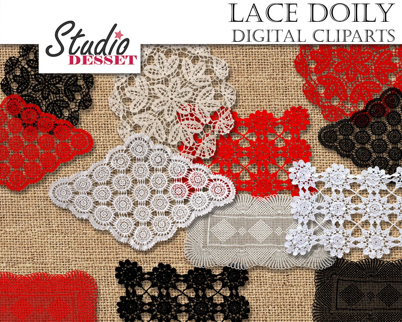 Lace Cliparts Lace Doily Dolies in White Red and Black   Etsy