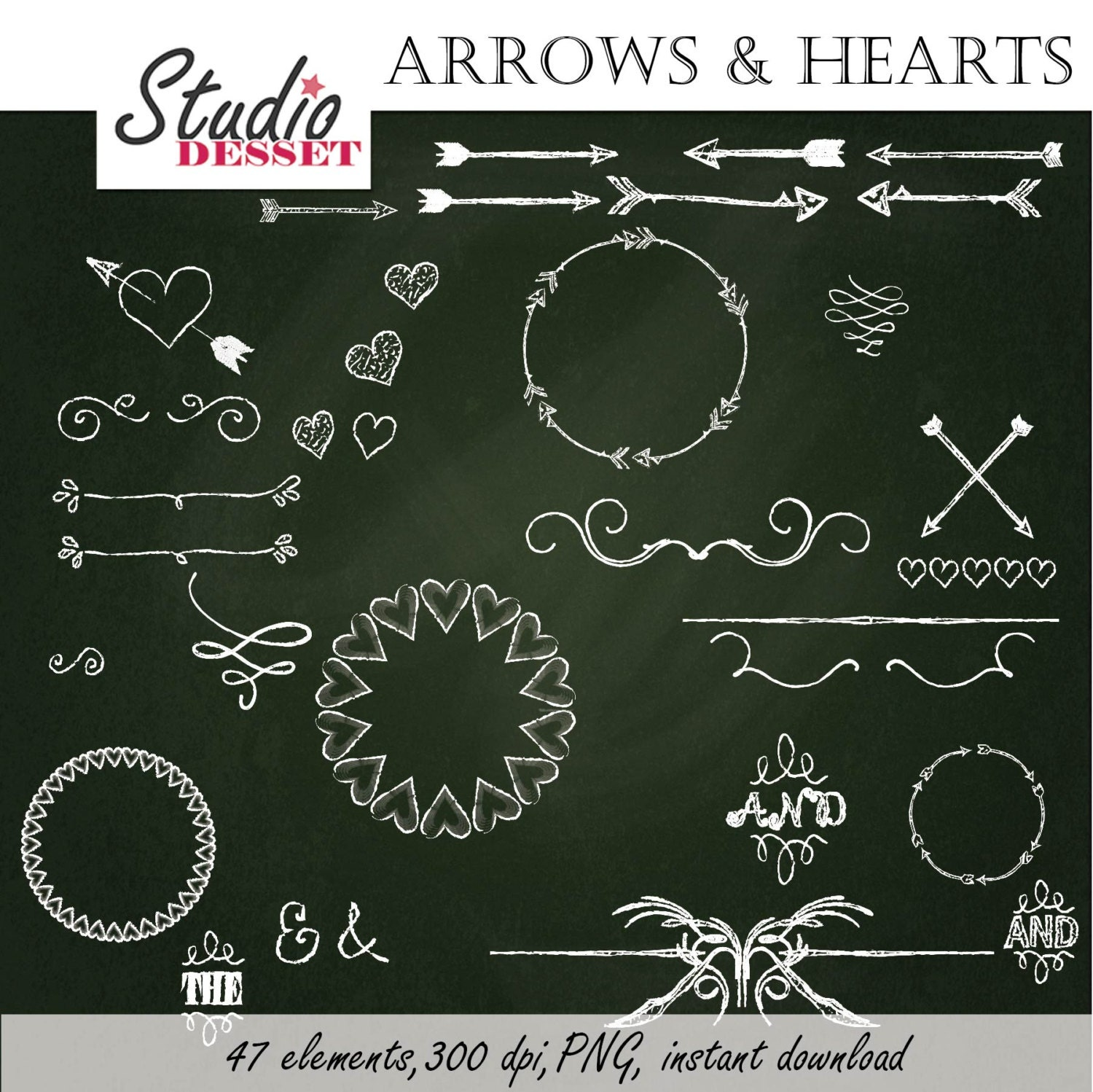 Arrows Clipart Chalkboard Hearts Borders And Frames Chalk