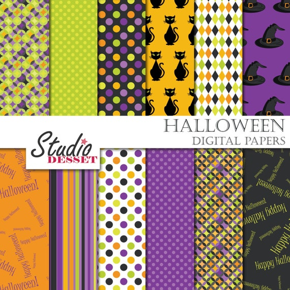 Spooky Digital Papers Spooky Backgrounds Black Cat And Wich Etsy
