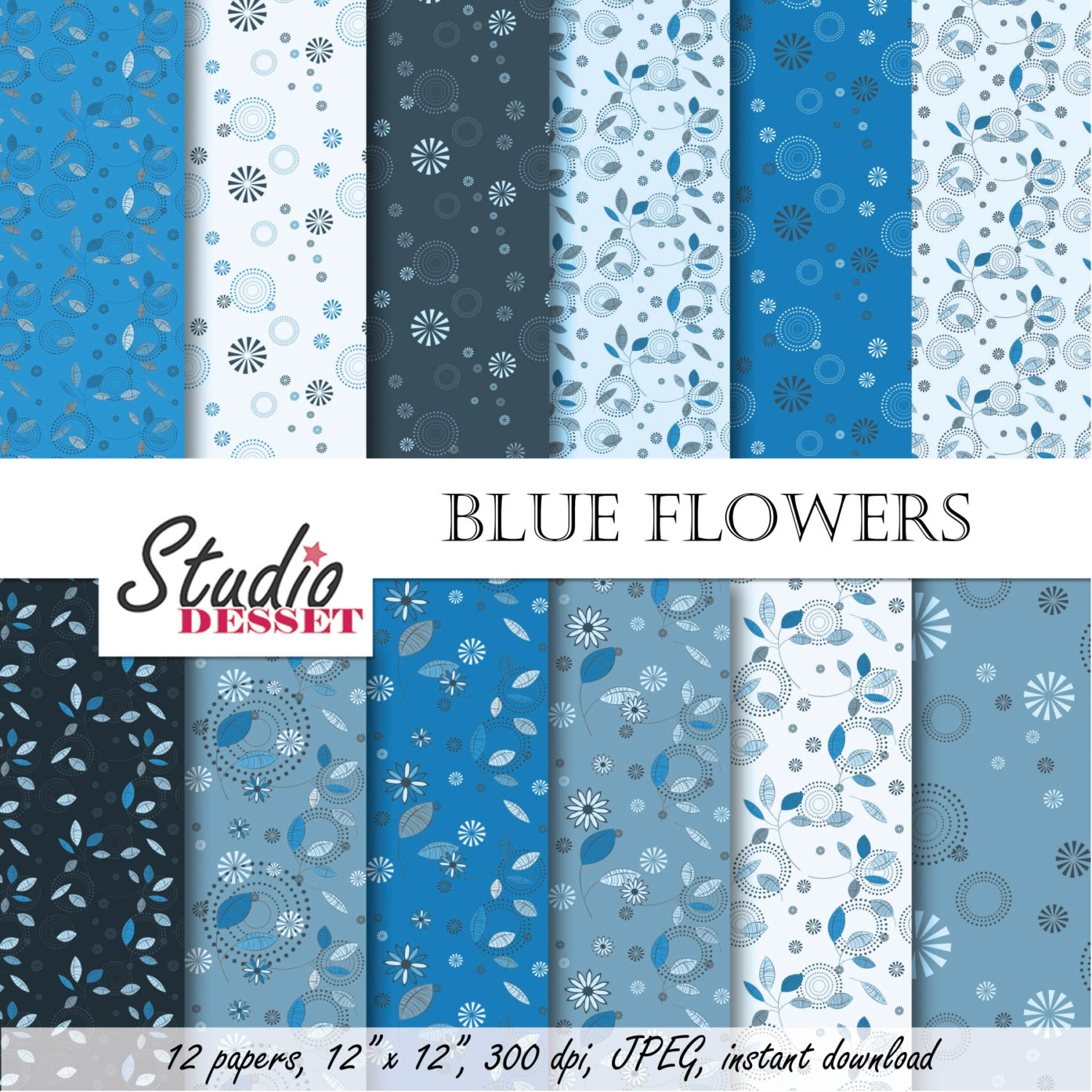Blue Flower Digital Paper Floral Backgrounds With Circles And Etsy