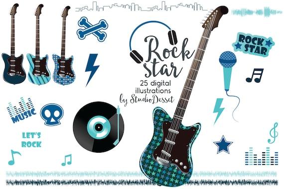 guitar cliparts rock clip art rock star clipart boy etsy rh etsy com We Rock Clip Art rock star clip art images