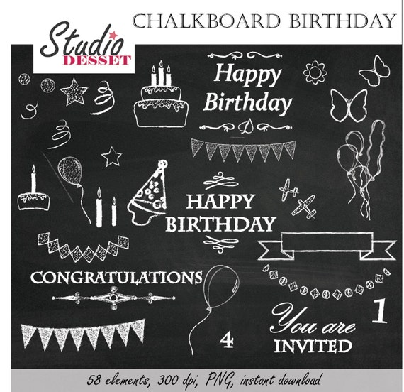 Chalkboard Clipart Birthday Chalk Happy Party