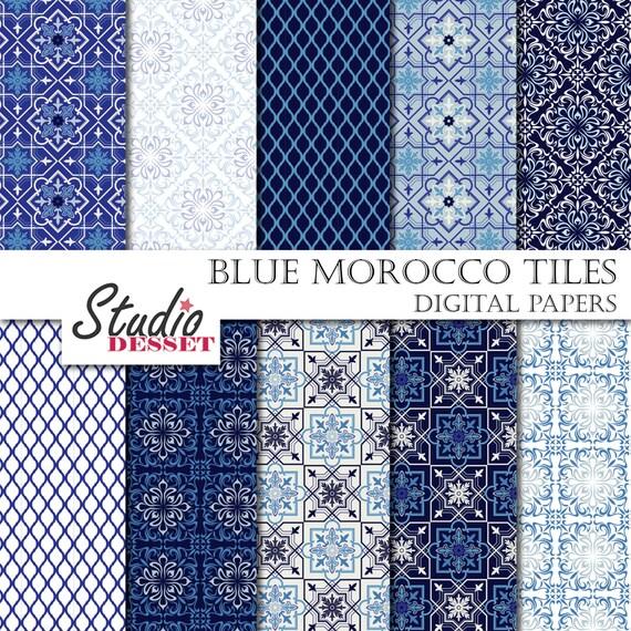 Blaue MosaikFliesen Marokko Papiere Böhmische Digitalpapier Etsy - Mosaik fliesen marokko