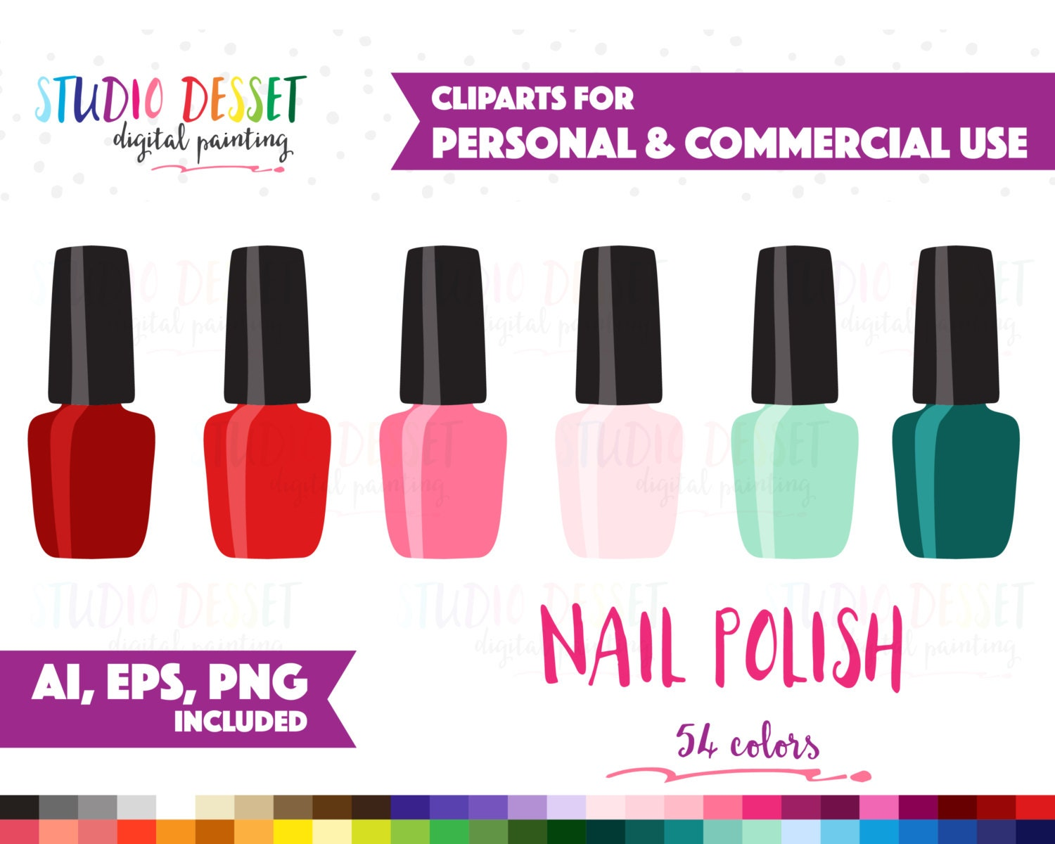 Nail Polish Clipart Vector Clip Art For Planner Stickers Etsy