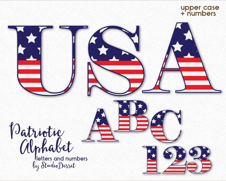 c57006789ab Patriotic Letters USA Alphabet Cliparts USA Letters Flag
