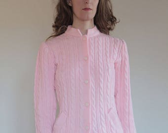 80's Valentino Miss V pretty pink wool cardigan/ long granny sweater