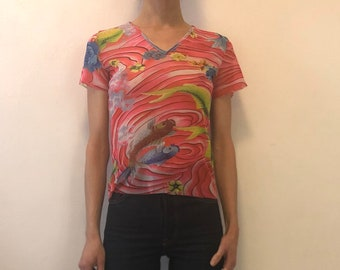 90's Kenzo Jeans Psychedelic Carp Sheer Stretch Mesh Club Kid T Shirt