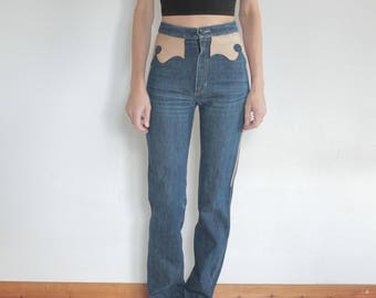 70's high waisted dark denim jeans with western leather cut out detail/ small size