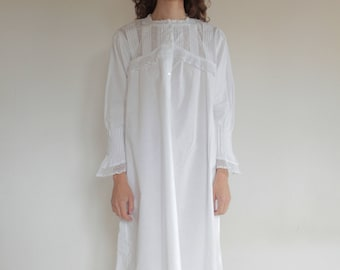 1900's Victorian white cotton nightgown with pin tucks and elaborate lace