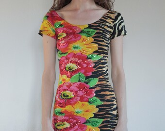 942ac17491 80 s Crazy hawaiian  tiger  zebra  tribal body con stretch dress with beads  and sequins size small