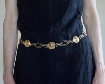 90's faux Versace médusa head gold metal link belt