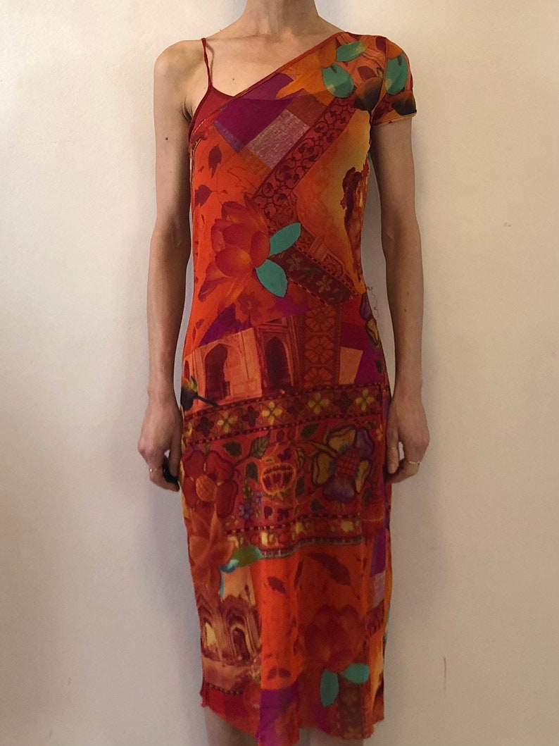 90s Kenzo Jeans Indian Print One Shouldered  Sheer Mesh Club Kid Maxi Dress