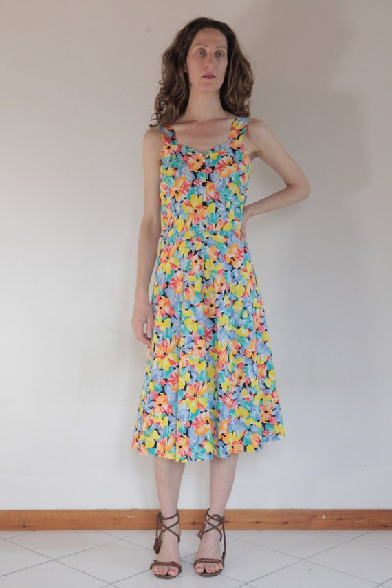 80's pretty cotton floral summer day dress, sweeth