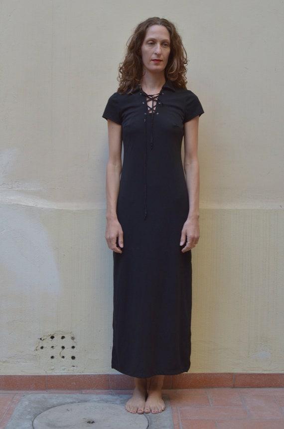 90s lace up minimalist baby t black goth dress