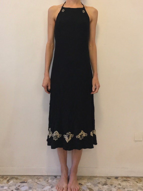 70's Indian Crinkle Cotton Halter Dress With Flora