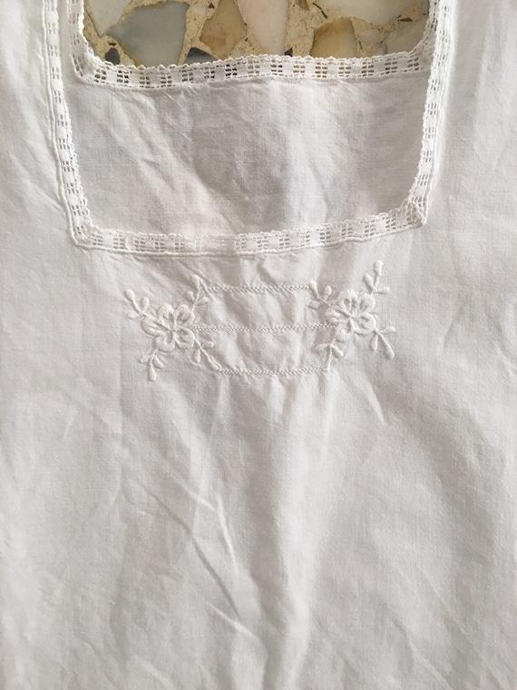 30's White Cotton Boho Slip Dress With Delicate H… - image 6