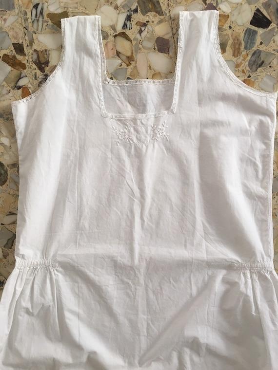 30's White Cotton Boho Slip Dress With Delicate H… - image 2