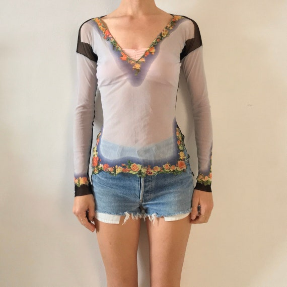 90's Jean Paul Gaultier Floral V Neck Tunic Club K