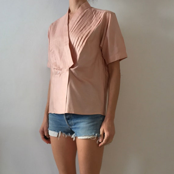 70s Kenzo Pink Silk Pleated Cross Over Japanese M… - image 2