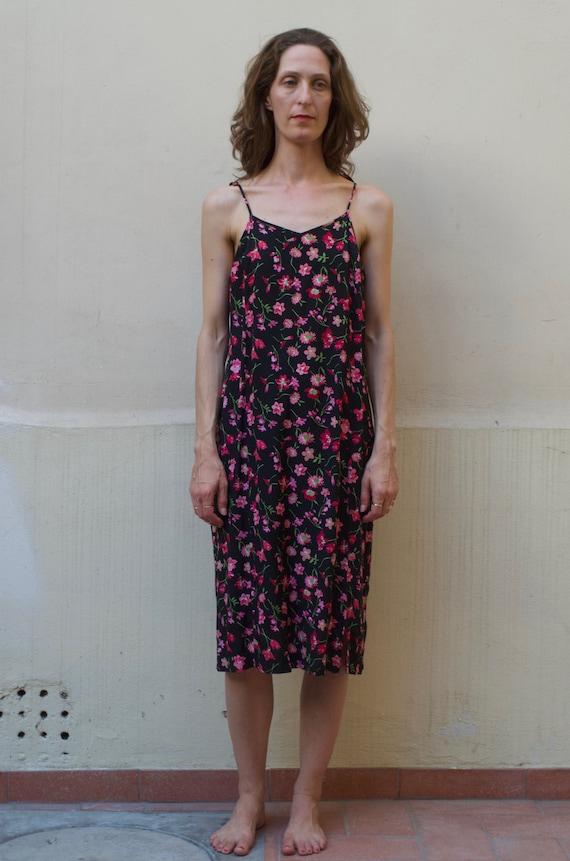90's black floral rayon slip dress Clueless pretty