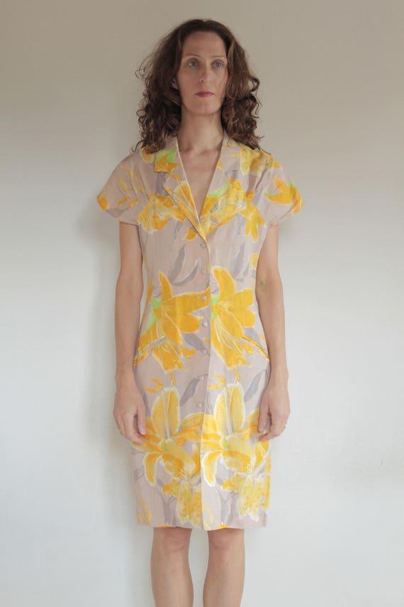 80's like 40's linen summer tropical wiggle dress