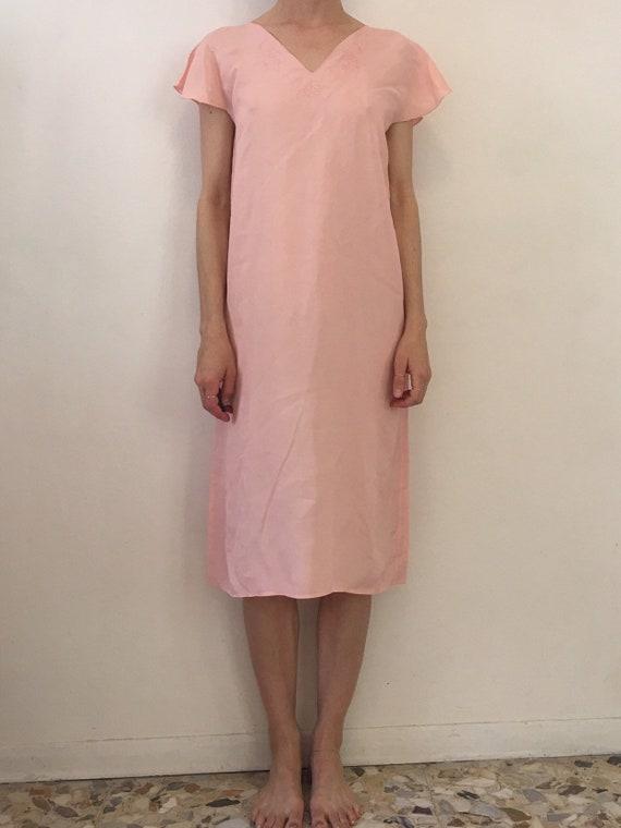 30/'s bias cut pink rayon leaf applique romantic hand made slip dress