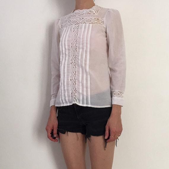 70s Lace Prairie Blouse Boho Romantic Sheer Cotto… - image 3