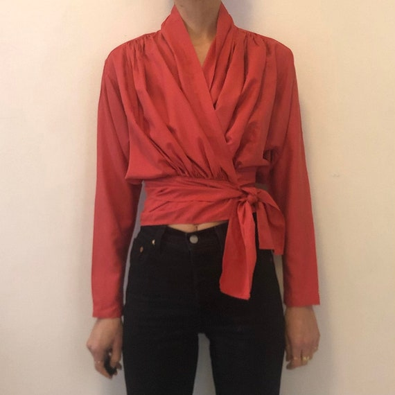 80s Kenzo Lobster Red Silk Sophisticated Wrap Blou