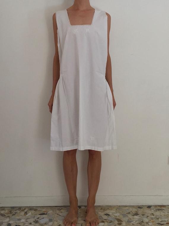 30's White Cotton Boho Slip Dress With Delicate Ha