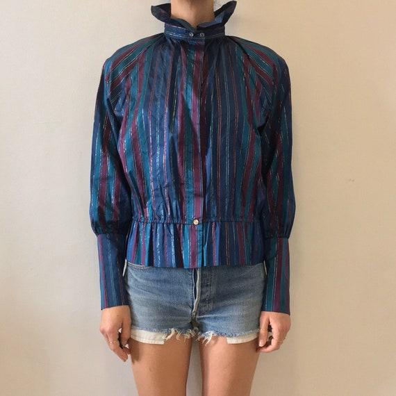 80s Silk Taffeta Ruffled Collar Fantastic Victoria