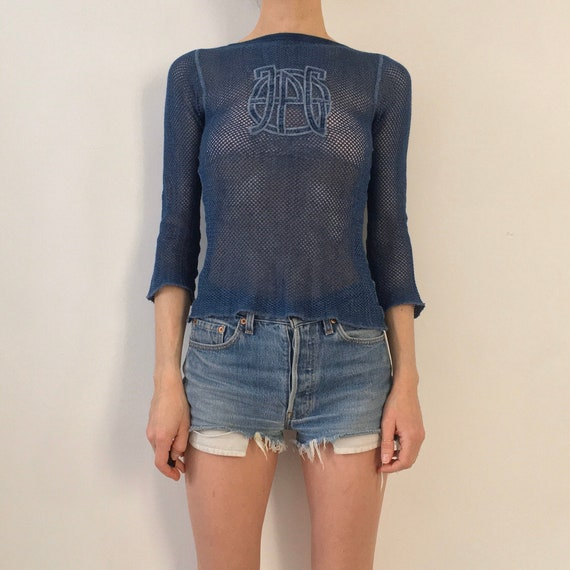 90s Jean Paul Gaultier 2000 Logo Net Stretch Mesh